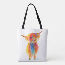 Scottish Highland Cow 'ANGEL' by Shirley MacArthur Tote Bag