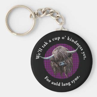 Scottish Highland Cow. Auld Lang Syne. Basic Round Button Keychain