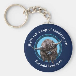 Scottish Highland Cow. Auld Lang Syne. Keychain