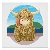 Scottish Highland Cow, Chilling On The Beach Poster