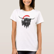 Scottish Highland Cow Christmas Santa Hat T-Shirt