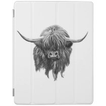 Scottish Highland Cow In Black And White iPad Smart Cover