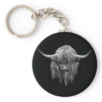 Scottish Highland Cow In Black And White Keychain