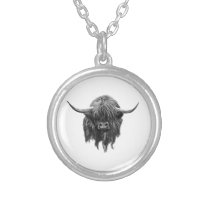 Scottish Highland Cow In Black And White Silver Plated Necklace