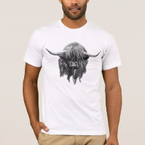 Scottish Highland Cow In Black And White T-Shirt
