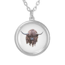 Scottish Highland Cow In Colour Silver Plated Necklace