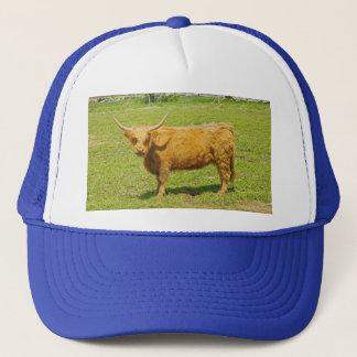Scottish Highland Cow In Farm Field Trucker Hat