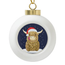 Scottish Highland Cow In The Christmas Snow Ceramic Ball Christmas Ornament