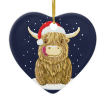 Scottish Highland Cow In The Christmas Snow Ceramic Ornament