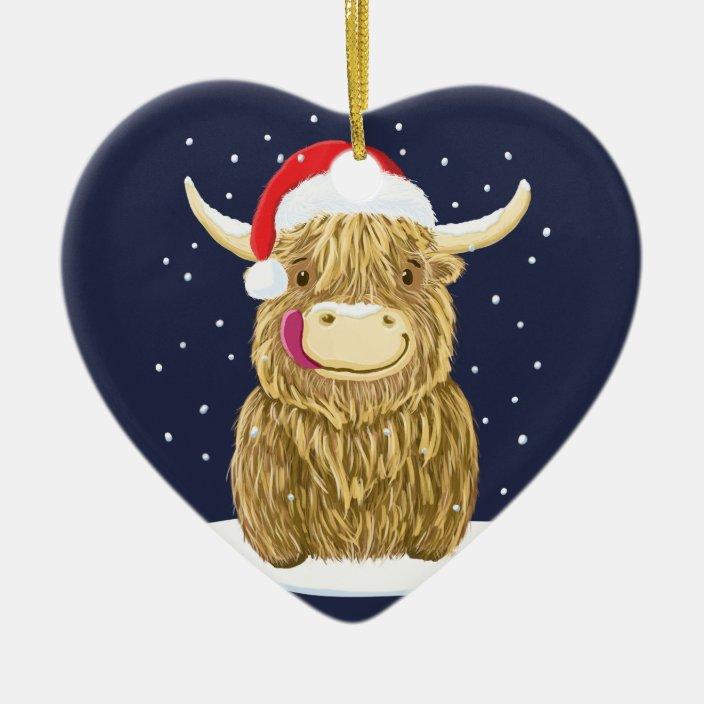 Scottish Highland Cow In The Christmas Snow Ceramic Ornament Zazzle Com