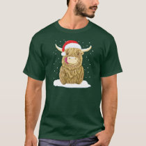 Scottish Highland Cow In The Christmas Snow T-Shirt