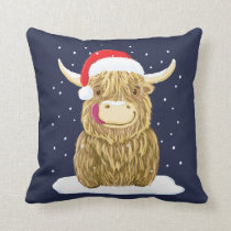 Scottish Highland Cow In The Christmas Snow Throw Pillow