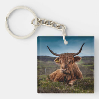 Scottish Highland Cow Longhorn Bull Rancher Double-Sided Square Acrylic Keychain