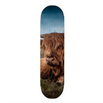Scottish Highland Cow Longhorn Bull Rancher Skateboard Deck