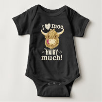 Scottish Highland Cow Loves You Hairy Much Baby Bodysuit