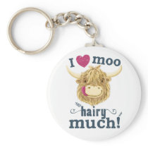 Scottish Highland Cow Loves You Hairy Much Keychain
