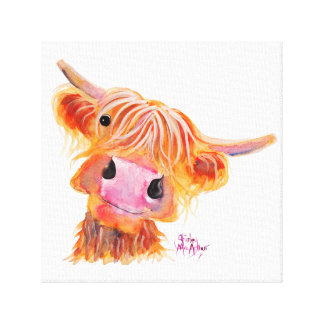 Scottish Highland Cow 'Nessie' Box Canvas Print
