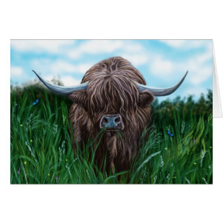 Scottish Highland Cow Painting Card