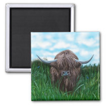 Scottish Highland Cow Painting Magnet