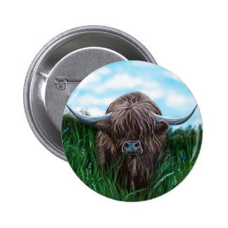 Scottish Highland Cow Painting Pinback Button