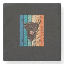 Scottish Highland Cow Retro Stone Coaster