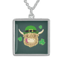Scottish Highland Cow St Patrick's Day Hat Sterling Silver Necklace