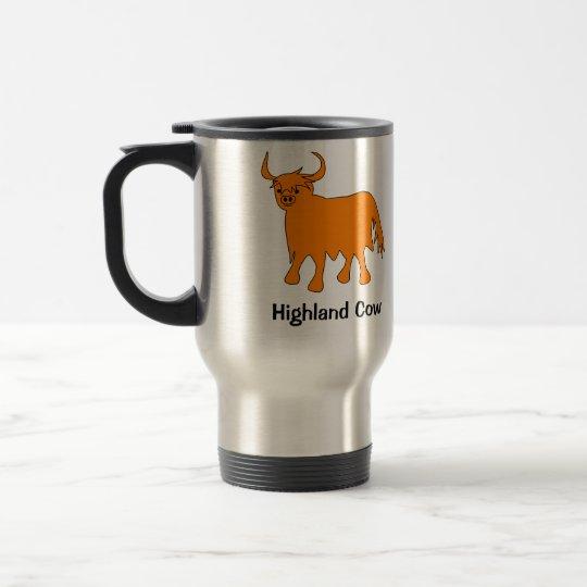 Scottish Highland Cow steel travel mug