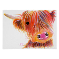 Scottish Highland Cow ' SWEET SATSUMA ' by Shirley Poster