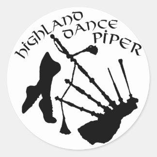 Scottish Highland Dance Piper Round Stickers