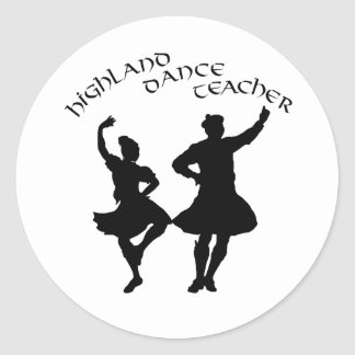 Scottish Highland Dance Teacher - Silhouette Classic Round Sticker
