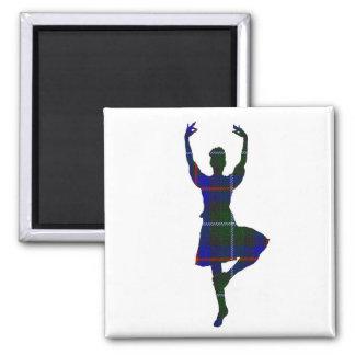Scottish Highland Dancer 2 Inch Square Magnet