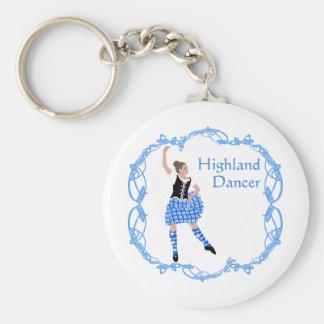 Scottish Highland Dancer Celtic Knotwork Blue Basic Round Button Keychain