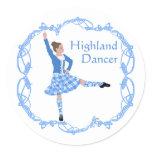 Scottish Highland Dancer Celtic Knotwork Blue Classic Round Sticker