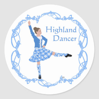 Scottish Highland Dancer Celtic Knotwork Blue Classic Round Sticker