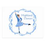 Scottish Highland Dancer Celtic Knotwork Blue Postcard
