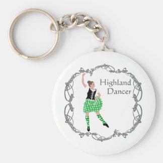Scottish Highland Dancer Celtic Knotwork Green Basic Round Button Keychain