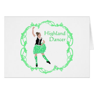 Scottish Highland Dancer Celtic Knotwork Green Card