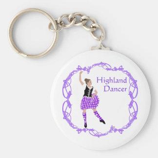 Scottish Highland Dancer Celtic Knotwork Purple Basic Round Button Keychain