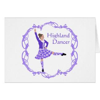 Scottish Highland Dancer Celtic Knotwork Purple Card