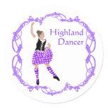 Scottish Highland Dancer Celtic Knotwork Purple Classic Round Sticker