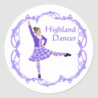Scottish Highland Dancer Celtic Knotwork Purple Classic Round Sticker