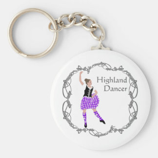 Scottish Highland Dancer Celtic Knotwork Purple Keychains