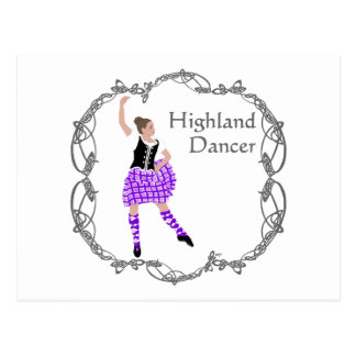 Scottish Highland Dancer Celtic Knotwork Purple Postcard
