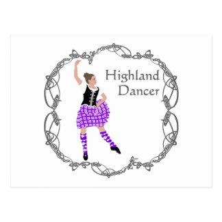 Scottish Highland Dancer Celtic Knotwork Purple Postcard