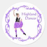 Scottish Highland Dancer Celtic Knotwork Purple Round Stickers