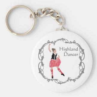 Scottish Highland Dancer Celtic Knotwork Red Basic Round Button Keychain