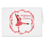 Scottish Highland Dancer Celtic Knotwork Red Card