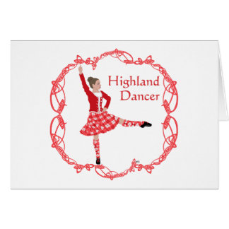 Scottish Highland Dancer Celtic Knotwork Red Card