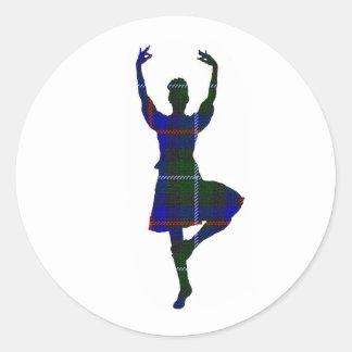 Scottish Highland Dancer Classic Round Sticker