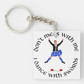 Scottish Highland Dancer Double-Sided Square Acrylic Keychain